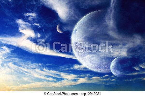 Sunset en planeta alienígena - csp12943031