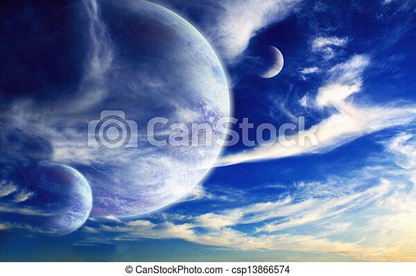 extranjero, planeta, ocaso - csp13866574