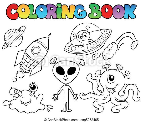 Libro de color con alienígenas - csp5263465