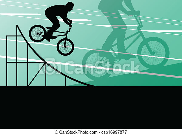 Extreme cyclist active sport silhouettes vector background - csp16997877