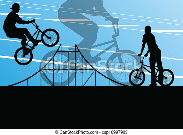 Extreme cyclist active sport silhouettes vector background - csp16997903