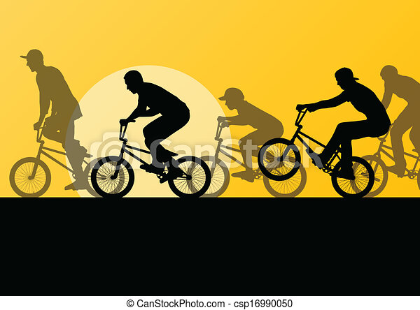 Extreme cyclist young active sport silhouettes vector background illustration - csp16990050