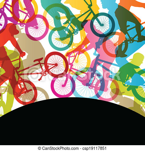 Extreme cyclists bicycle riders active children sport silhouettes vector abstract background illustration - csp19117851