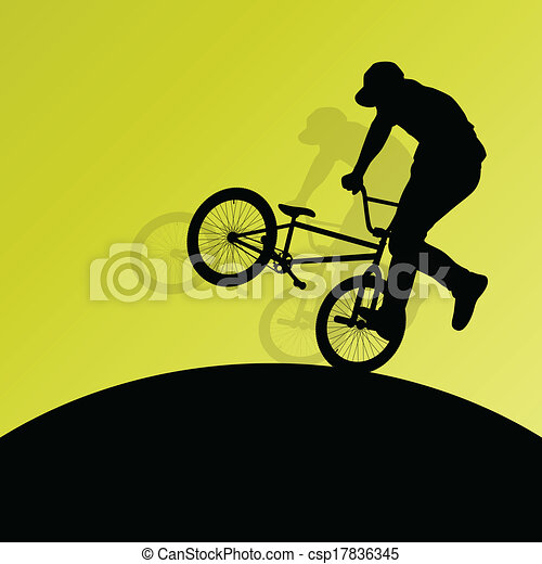 Extreme cyclists bicycle riders active children sport silhouettes for poster - csp17836345