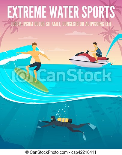 Extreme Water Sports Flat Composition Poster - csp42216411