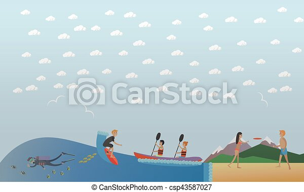 Extreme water sports, outdoor games concept vector illustration, flat style. - csp43587027