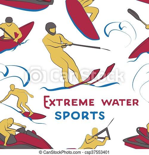 Extreme water sports pattern - csp37553401
