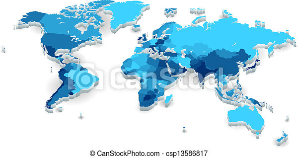 Extruded world map with countries world map with countries in cool world map with countries in cool colors vector illustration gumiabroncs Image collections
