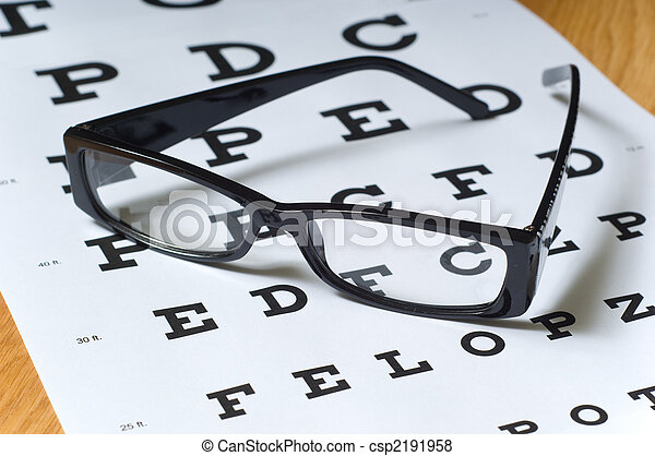 Eye Exam A Pair Of Black Reading Glasses Or Spectacles On An