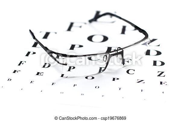 Eye Exam Reading Glasses With Eye Chart