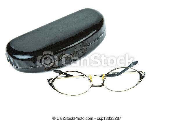 Eye-glasses with box isolated on white background - csp13833287