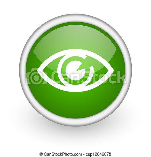 eye green circle glossy web icon on white background - csp12646678