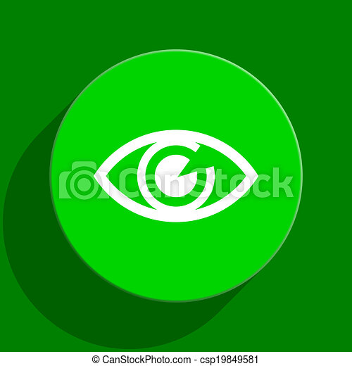 eye green flat icon - csp19849581