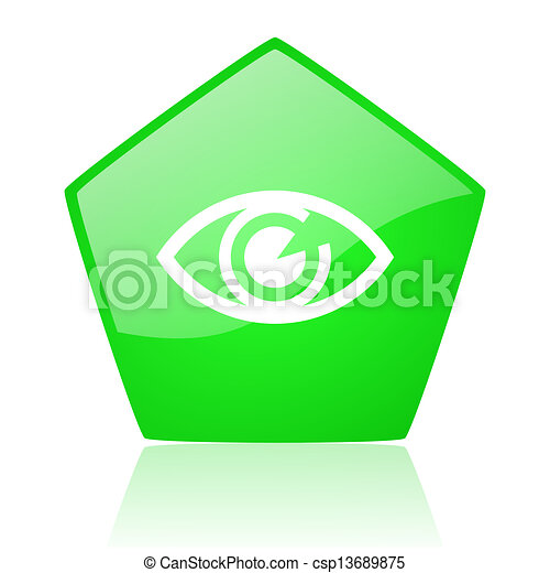 eye green pentagon web glossy icon - csp13689875