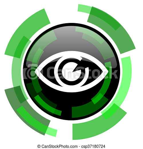 eye icon, green modern design isolated button, web and mobile app design illustration - csp37180724