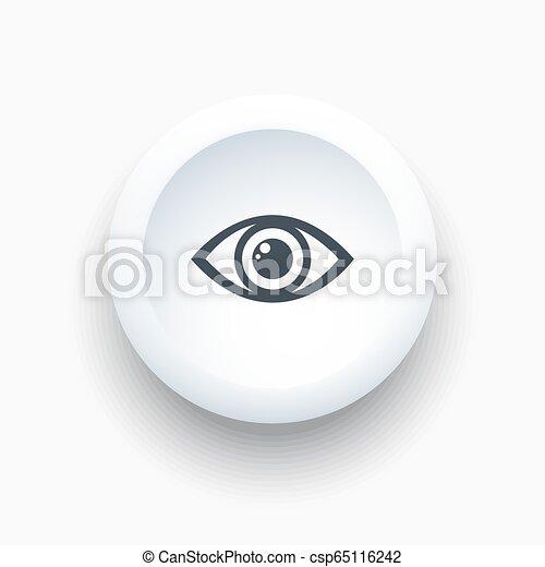 Eye icon on a white round button - csp65116242