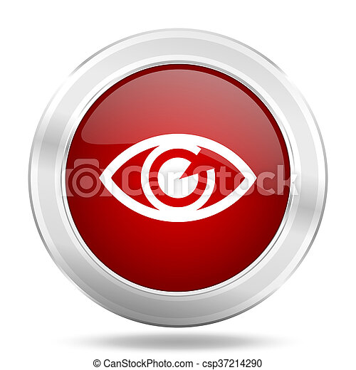 eye icon, red round glossy metallic button, web and mobile app design illustration - csp37214290