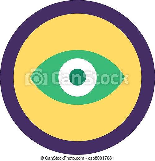 Eye Icon, Web App Button Flat Vector Design - csp80017681