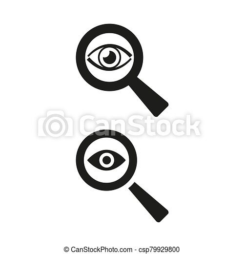 Eye icon with a magnifying glass on white background. - csp79929800