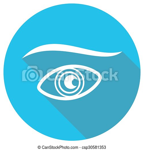 Eye icons with long shadow - csp30581353