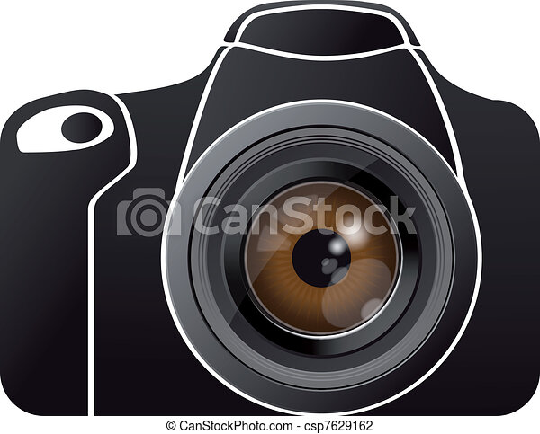 eye lens on photo camera - csp7629162