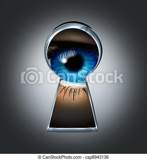 Eye Looking Through A Keyhole - csp8943136