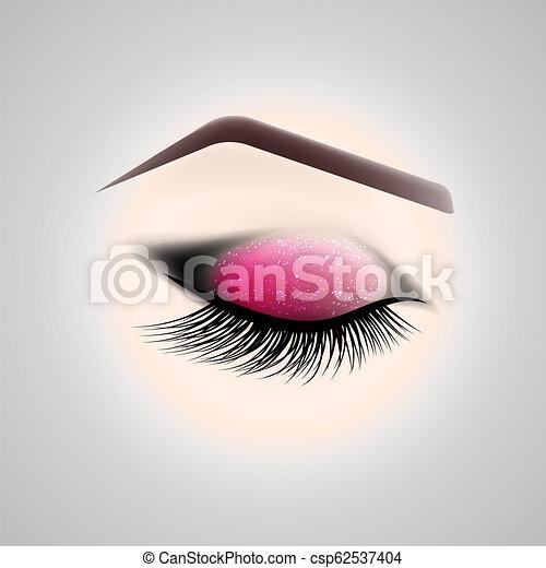 Eye Makeup Closed Eye With Long Eyelashes Vector Illustration