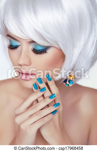 Eye makeup. Manicured nails. Beauty Fashion Blond Woman Portrait with short white hair styling. - csp17968458