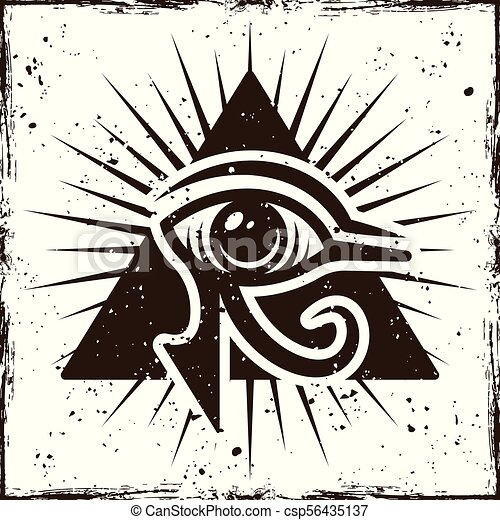 Eye Of Horus In Triangle Ancient Egyptian Symbol On Background With