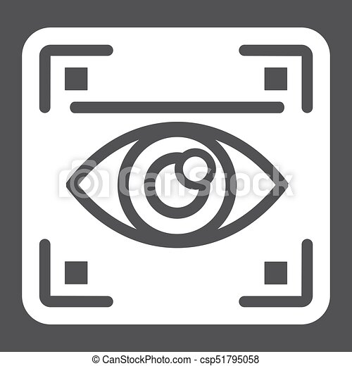 Eye scan solid icon, security and iris scanner - csp51795058