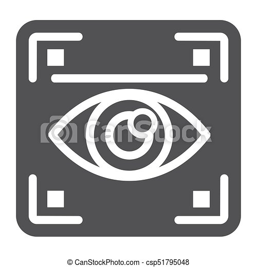 Eye scan solid icon, security and iris scanner - csp51795048