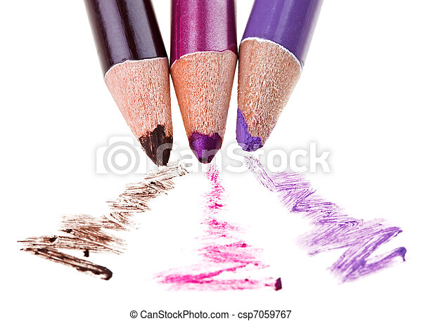 Eye shadow makeup pencil with stroke sample, isolated on white macro - csp7059767