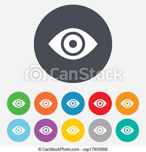 Eye sign icon. Publish content button. - csp17933958