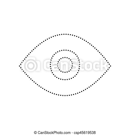 Eye sign illustration. Vector. Black dotted icon on white background. Isolated. - csp45619538