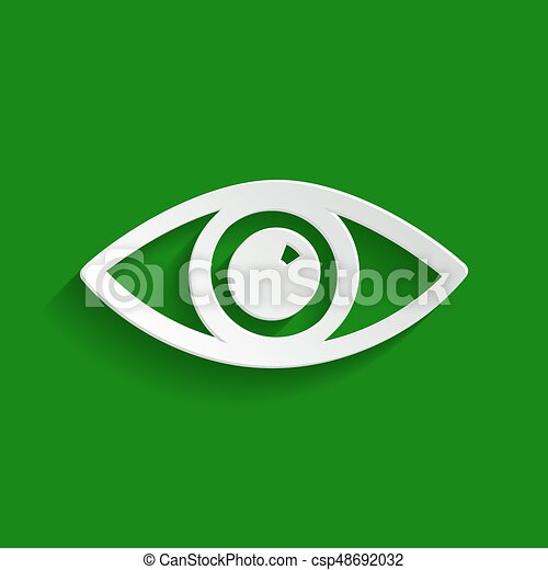 Eye sign illustration. Vector. Paper whitish icon with soft shadow on green background. - csp48692032