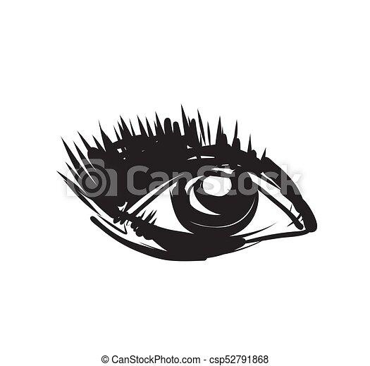 Eye sketch. Hand Drawn. Vector Illustration. - csp52791868