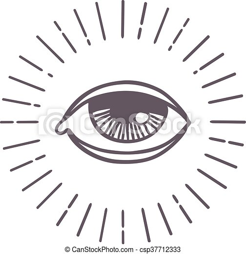 Eye Sun Vector Symbol All Seeing Eye Symbol On Light Background And