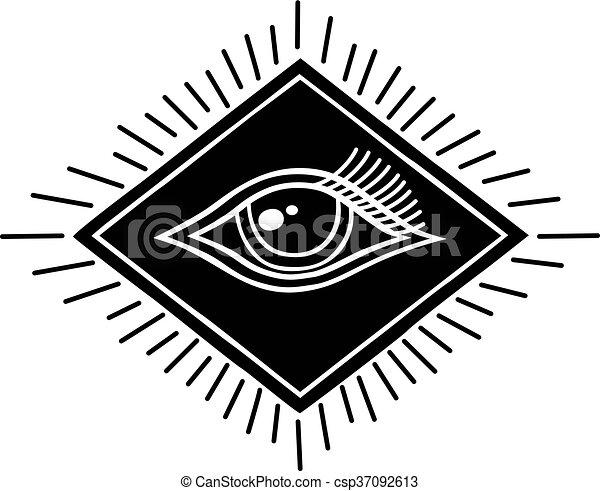 One Eye Symbol Theme Vector Art Illustration Vector Clip Art