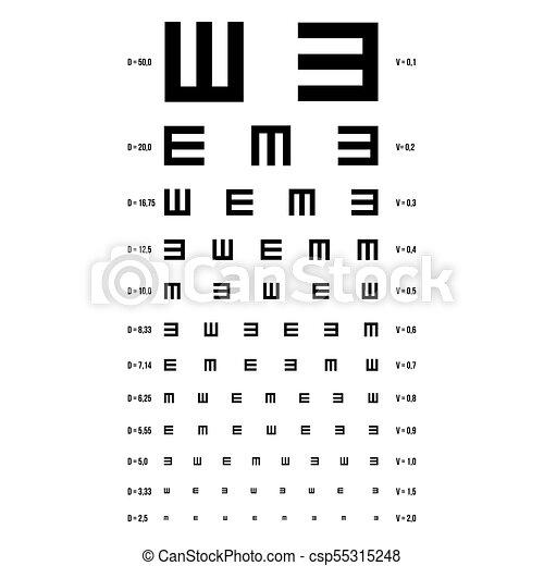 Eye Test Chart Vector E Chart Vision Exam Optometrist Check