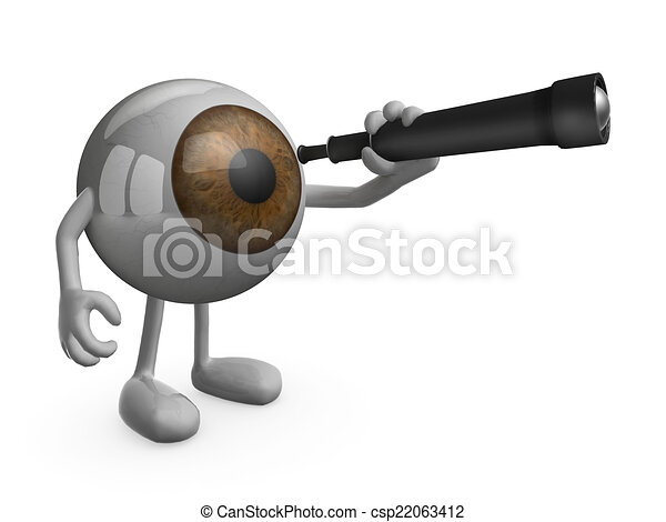 eye with arms legs and telescope - csp22063412