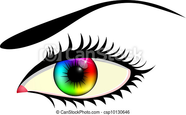 Close Up Of Human Eye With Colorful Iris Isolated On White