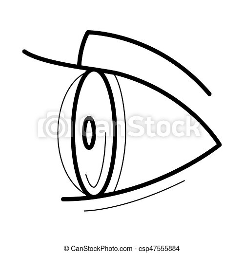 eye with contact lens icon side view line art pictogram image for rh canstockphoto com
