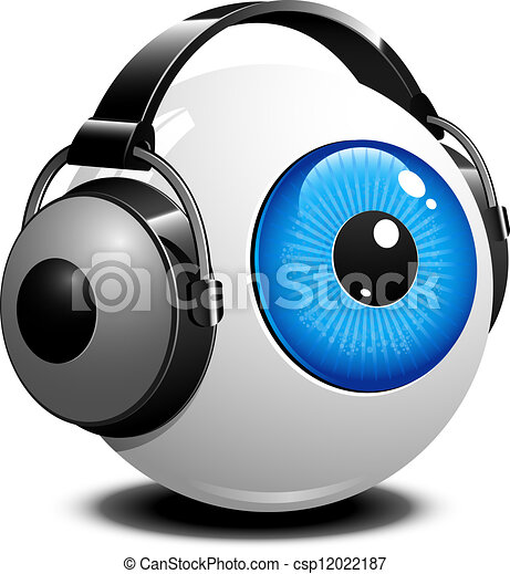 Eye with headphones - csp12022187