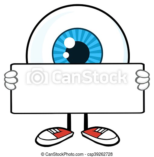 Eyeball Guy Holding A Blank Sign - csp39262728