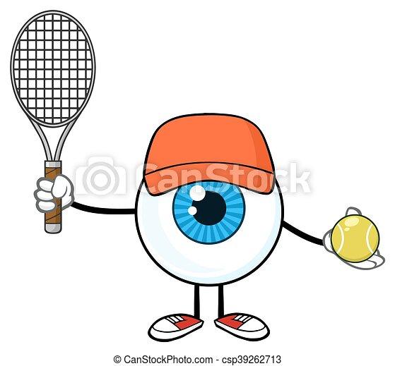 Eyeball Guy Holding A Tennis Ball - csp39262713