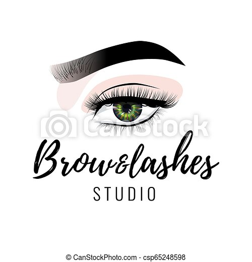 a746ec4ec44 Eyebrow and eyelashes studio logo, beautiful perfect eye makeup design,  long black lashes,