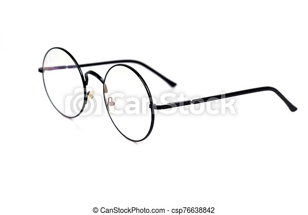 Eyeglasses in round frame on white background. - csp76638842