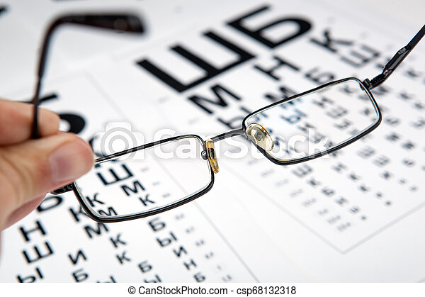 eyeglasses on the table with a font to determine of eyesight Russian version - csp68132318