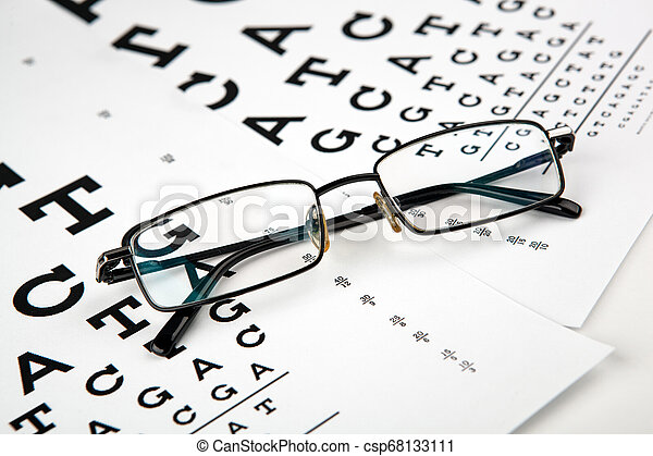 eyeglasses on the table with a font to determine of eyesight English version - csp68133111