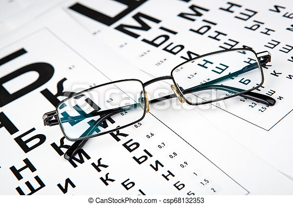 eyeglasses on the table with a font to determine of eyesight Russian version - csp68132353